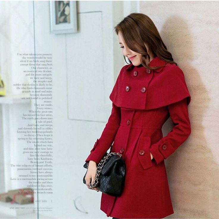 mooie rode wollen retro mantel