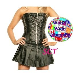 Chain Me Up Faux Leather Zip Corset & Skirt Ae 506977 **New Lower Price!**