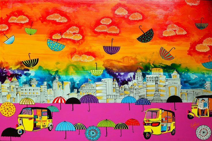 Lifelines Print by Pragati Sharma Mohanty. The vivid colors show the vibrancy of citylife. The jumbled elements of a city are out across by the artist.