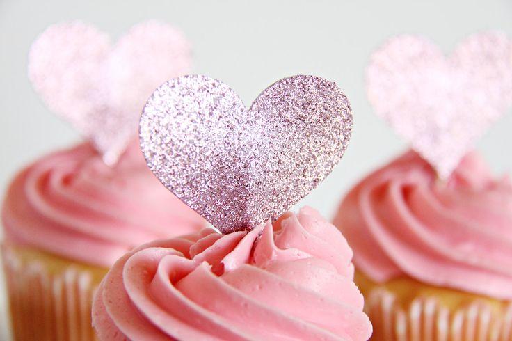 Wedding Cupcake Toppers, Heart Shaped Cupcake toppers, Anniversary toppers, Cupcake Toppers, 12 toppers. $4.50, via Etsy.