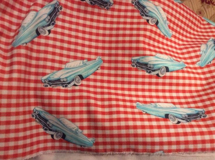 Checks & Dogs & Rock 'n' Roll 1950's American Car And Red Checks Fabric 5 M