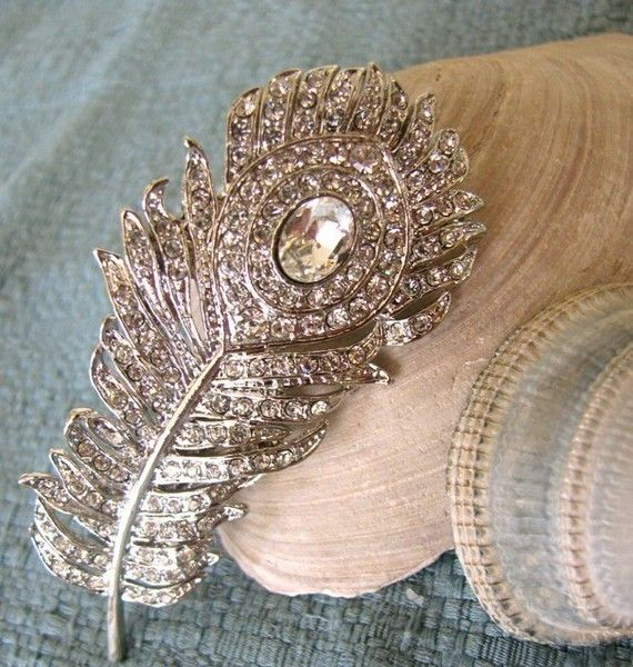 Sparkling Peacock Bridal Crystal Hair Brooch  by Bethany Lorelle.  Repurposed from a Crystal brooch.