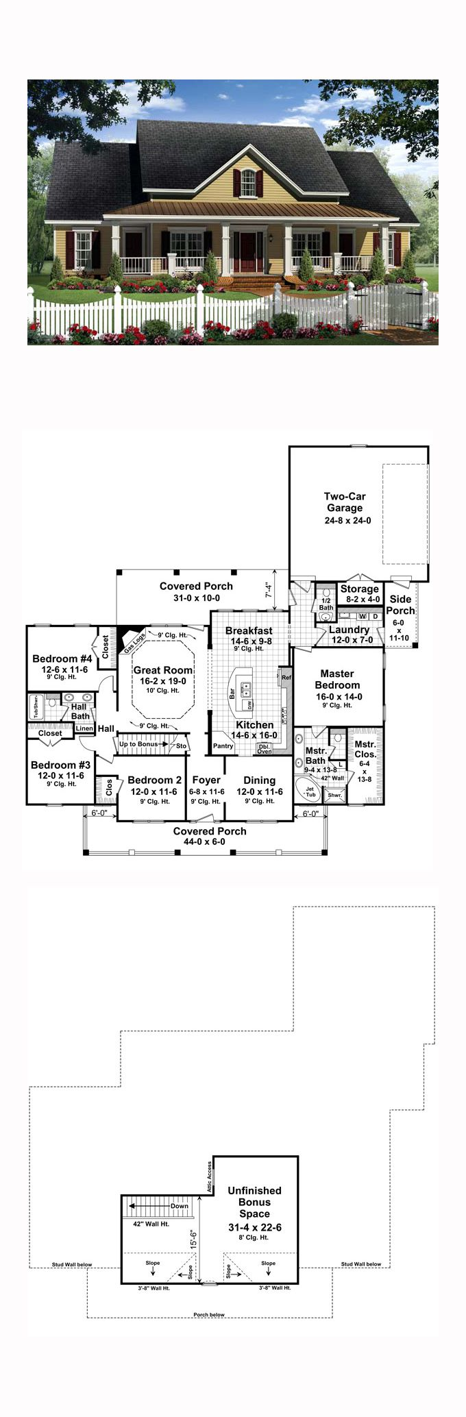 Traditional House Plan 59214   Total Living Area: 2336 sq. ft., 4 bedrooms and 2.5 bathrooms.The large great room features a gas log fireplace, trayed ceilings, and provides a perfect place to entertain guests. The well-equipped kitchen features a raised