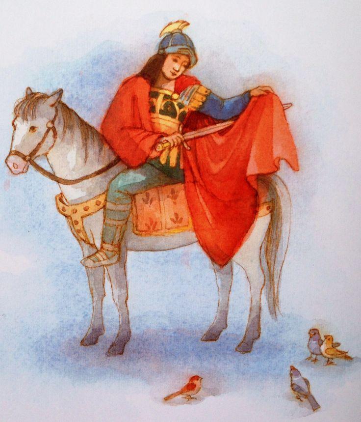 Illustratie Maja Dusikova uit het boek 'Sint Maarten en het beertje' van Antonie Schneider.