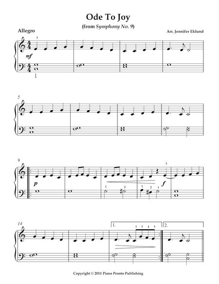 how to play ode to joy on piano sheet music