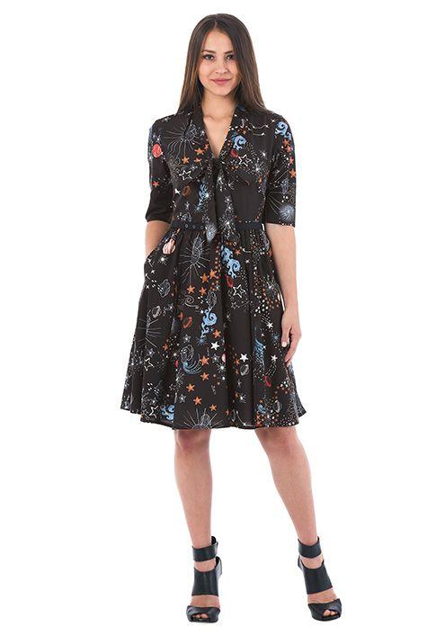 57f085550d3 I  3 this Constellation print tie-neck crepe dress from eShakti ...