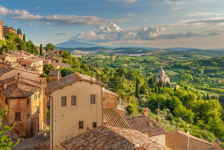 Landscape of the Tuscany seen from the walls of Montepulciano,..