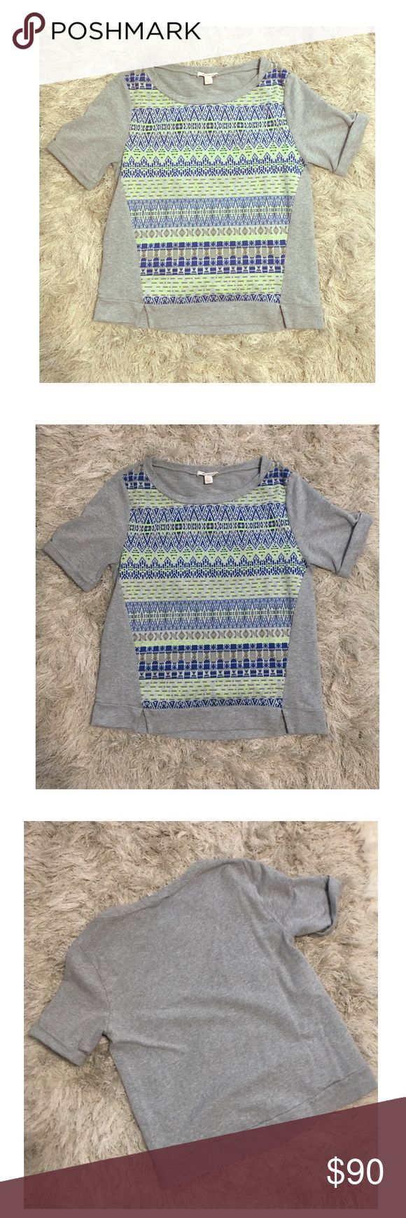 ELLA MOSS Heather Gray Neon Sweatshirt Tee Sm Ella Moss sweatshirt tee 💚💙 ▪️size: small ▪️color: heather gray - blue, neon yellow, gray ▪️48% cotton, 41% polyester, 5% acrylic, 1% spandex ▪️contrast material 47% micro modal, 47% supima cotton, 6% spandex ▪️dry clean  So cute and soft! Let me know if you have any questions!! Ella Moss Tops
