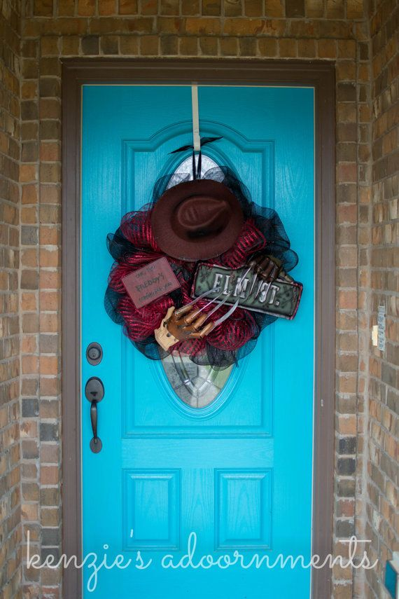freddy krueger freddy krueger wreath nightmare on elm street wreath scary halloween wreath - Freddy Krueger Halloween Decorations