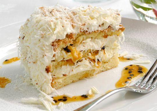 Coconut, White Chocolate & Passionfruit Cake