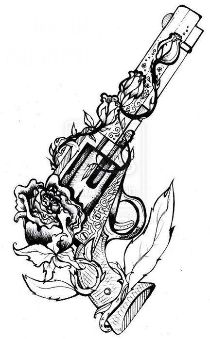 25 best ideas about gun tattoos on pinterest pistol gun for Cool rose drawings