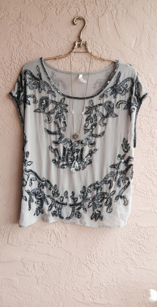 Anthropologie Gypsy Willow and clay beaded gatsby sheer grey tunic