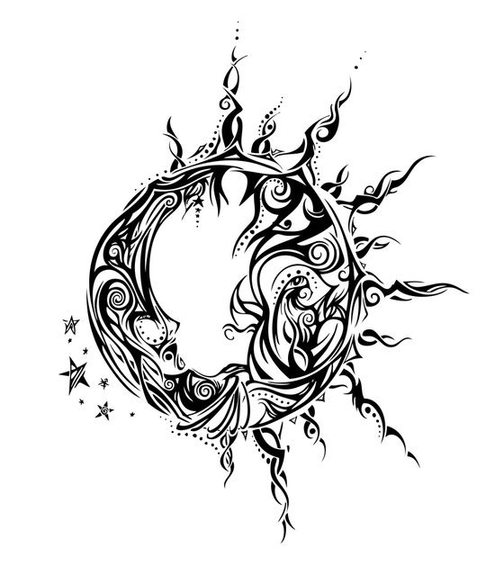 20 Tiny Sun And Moon Tribal Tattoos Ideas And Designs