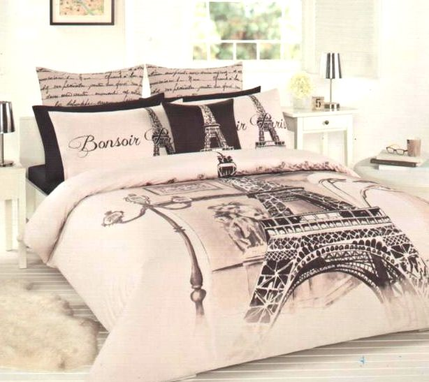 Paris Themed Full Bedding | PARIS BONSOIR - EIFFEL TOWER ~ DOUBLE SIZE QUILT COVER SET + 2 ...