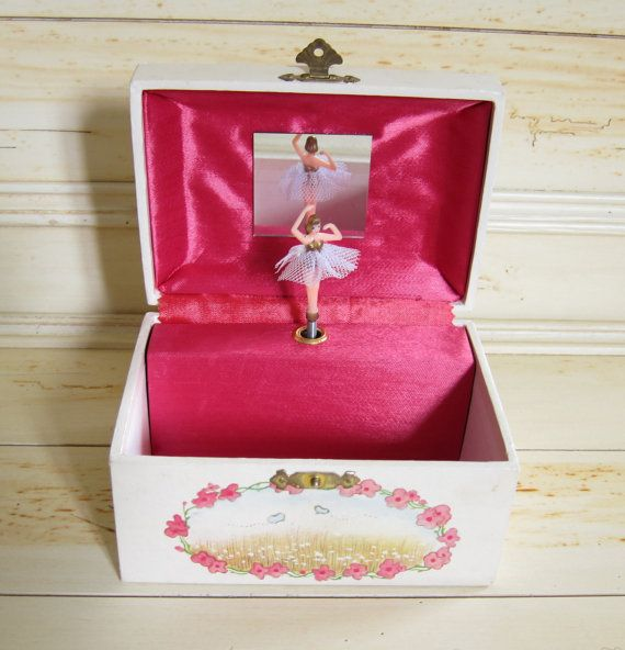 """Girl's Jewelry Box Vintage Music Box with Ballerina, Girl in Pink Bellbottoms & White Cats """"The Way We Were"""""""