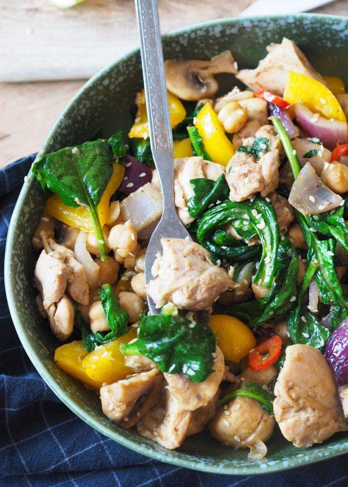 Grønn curry wok med kylling - Sukkerfri Hverdag