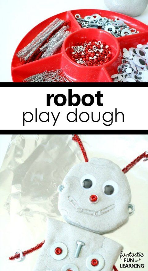 Robot Play Dough Invitation for Letter R Preschool Activities