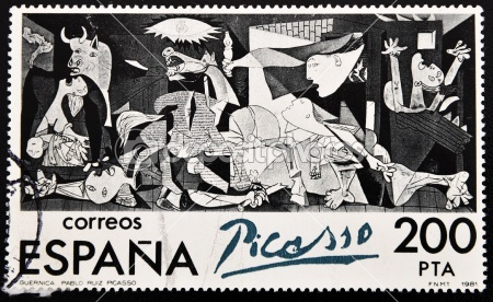 "Stamp shows painting by Pablo Picasso ""Guernica"""