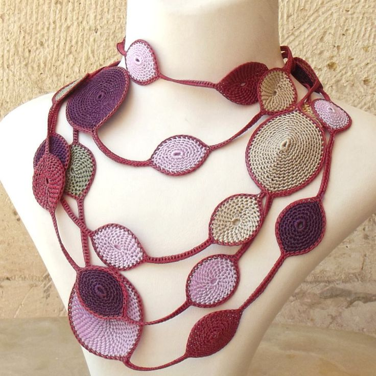 Turkish OYA Lace - Lariat necklace - Drop- Forest berry/ Crocheted Jewelry Wedding Bib Flowers Accessories Dresses Jewelry by DaisyCappadocia on Etsy