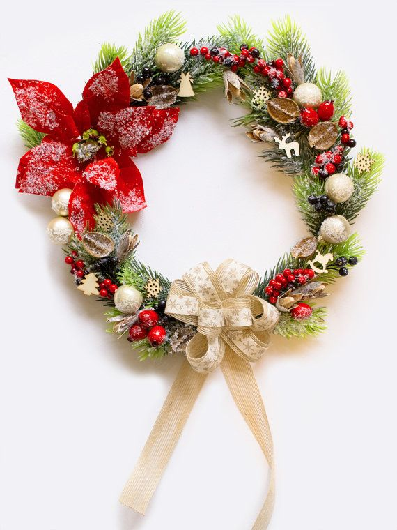 Winter Christmas wreath, Front Door Wreath, Outdoor Wreath, Decor