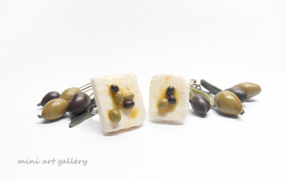 Greek feta cheese, with olives and olive oil ring / handmade polymer clay jewelry / realistic miniature food jewellery.  By Mini Art Gallery