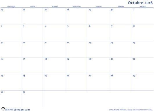 calendario octubre 2016 libre de imprimir Profesional domingo Venezuela