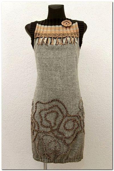 Sukienka Tweed Melanż Szara - Beż z czarnym w agaartpl  na DaWanda.com