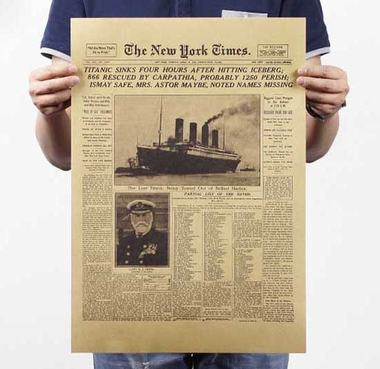 The New York times, the Titanic sank headlines, vintage posters, wall stickers, movie posters.