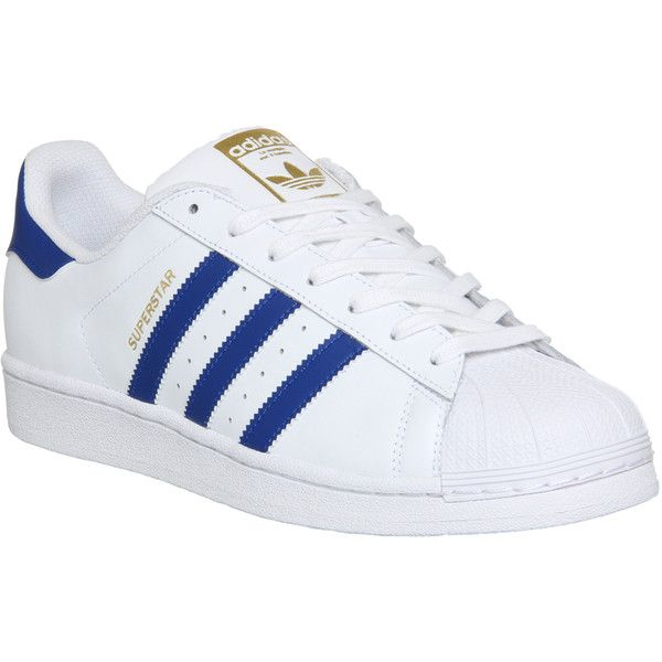 Adidas Superstar 1 ($91) ❤ liked on Polyvore featuring men's fashion, men's shoes, men's sneakers, shoes, sneakers, shoes - sneakers, his trainers, trainers, white collegiate royal and adidas mens shoes