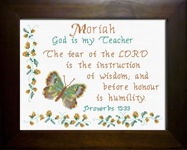 Moriah Name Blessings Personalized Cross Stitch Design From Joyful Expressions Cross Stitch Name Personalized Cross Cross Stitch