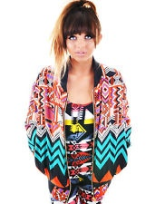 Rowen Falls View Digital Aztec 80s Tribal Print Retro Bomber Jacket 8 10 12 14