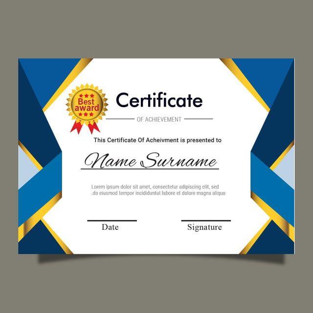 Blue Gold Certificate Template For Multipurpose Diploma Award Or Graduation Certificados De Premios Plantillas De Diplomas Editables Certificados De Reconocimiento
