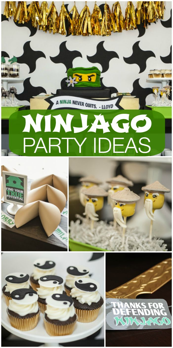 This amazing green, gold and white Ninjago party has paper lanterns and fortune cookies, plus a decorated  cake and cupcakes.  See more party ideas at CatchMyParty.com!