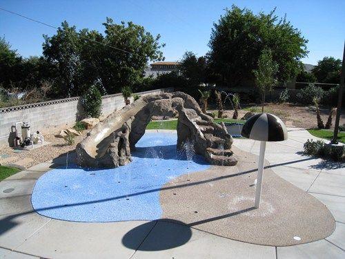 backyard splash pad waterslide