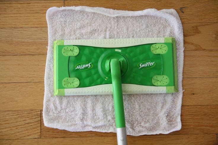 Swiffer with washcloths & homemade vinegar solution.
