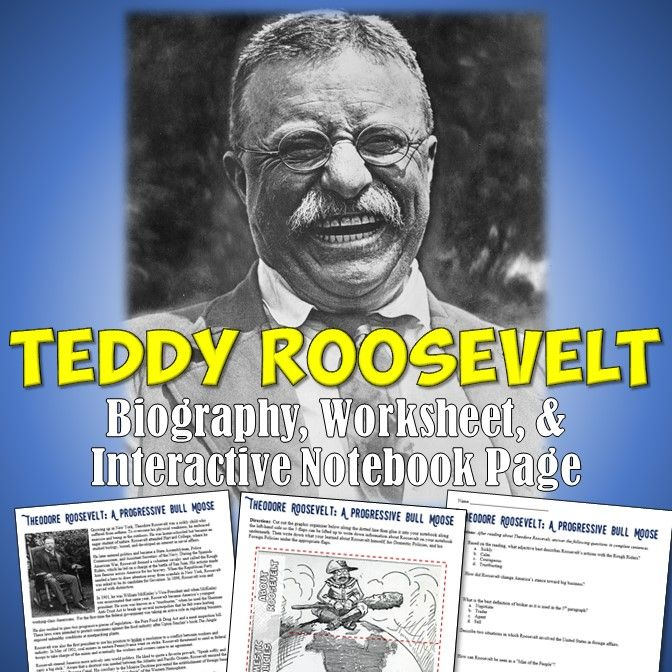 This excellent resource on Theodore Roosevelt includes a combination of resources to engage your students and enrich their learning! Included is a 1 page biography reading, interactive notebook graphic organizer page, and worksheet/quiz to gauge your students' understanding of what they read!