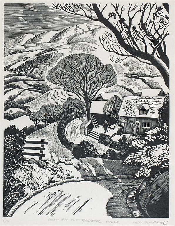 "Iain Macnab (1890-1967) ""Snow on the Radnor Hills"" wood engraving by Iain Macnab http://www.invaluable.com"