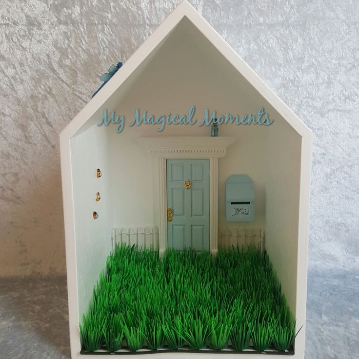 This Blue themed Elf House will bring magic into your home Your pack will come with Handmade Wooden Display HouseLight Blue Elf DoorLight Blue Mail BoxWhite Picket FenceLittle Garden - Plain GrassSmall Blue Elf Dust 3 Humble Bumble BeesBlue Glow in the Dark DragonflyThe Wooden Display House comes