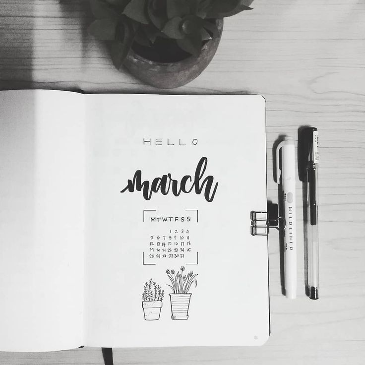 Bullet journal monthly cover page, March cover page, hand lettering, plant drawings, potted plant drawings. | @bujowithdaya
