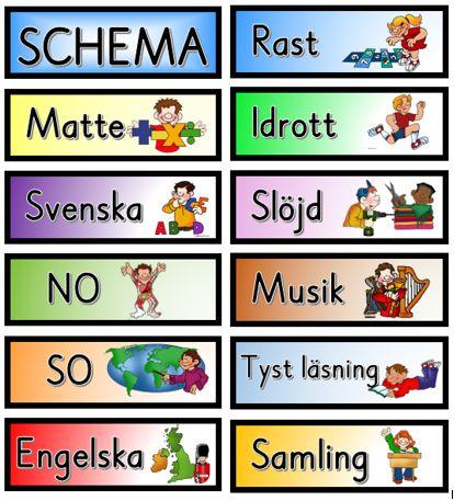 Schemabilder - Dagar, datum, månader, väder och schema.