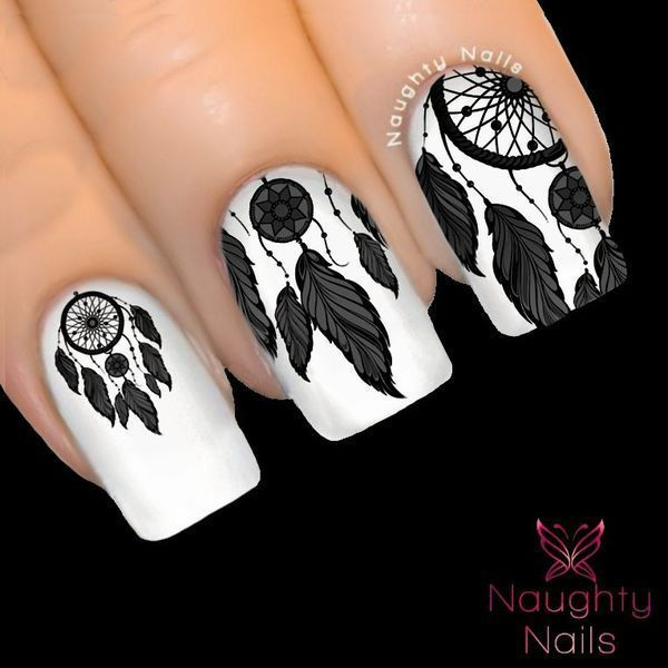 Details about ONYX Black DREAM CATCHER Nail Water Transfer Decal Sticker Art Tattoo Feather