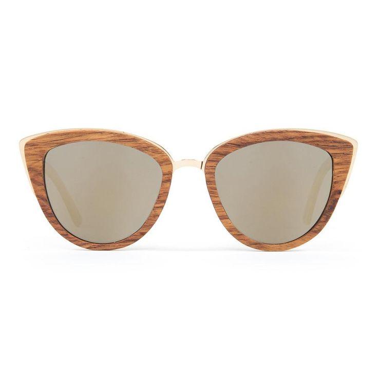 e31d422ffd Woodzee Lexi Wood + Metal Oversized Cat Eye Polarized Sunglasses