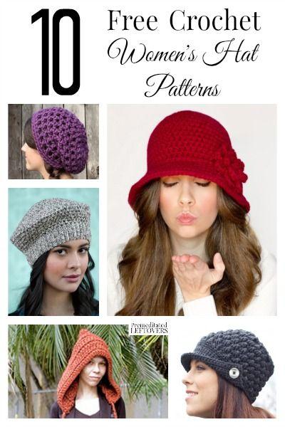 10 free crochet hat patterns for women