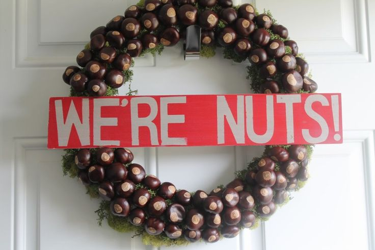 "How to make an Ohio State  ""We're Nuts"" Buckeye Wreath"