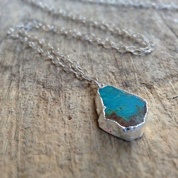 Raw Stone Jewelry Turquoise Slice Necklace Long by TesoroDelSol