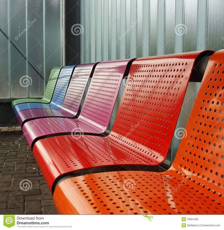Colored Metal Bench At A Tram Bus Train Stop Royalty Free Stock ...