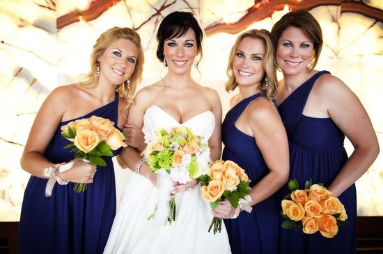 navy bridesmaid dresses with peach colored rose bouquet: Rose Bouquets Pretty, Good Makeup, Navy Bridesmaids, Navy Bridesmaid Dresses, Navy Blue Dresses, Peaches Colors, Colors Rose, White Green Orange Flowers, Http Pgaflowers Com