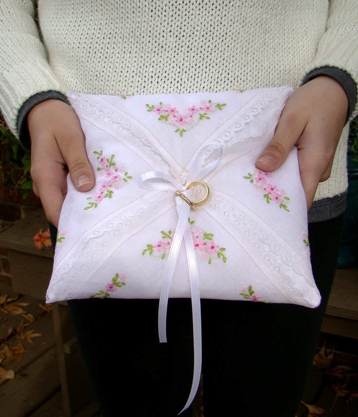 Wedding Ring Pillow, Vintage Ring Bearer Pillow, Vintage Handkerchief, Pink, Ringbearer,