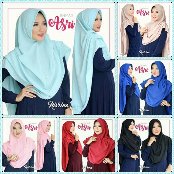 Hijab Syar'i Khimar Asri Fashion Hijab Lebaran 2017 Bahan : High Quality diamond georgette tidak panas, mudah dibentuk langsung pakai dan tidak menerawang