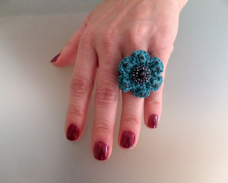 Crocheted Flower Ring / Τurquoise waxed Cord & Silver Seed Beads / Celebration Gift / Crocheted Jewelry / Whimsical / Crochet Ring by Vintagespecialmoment on Etsy
